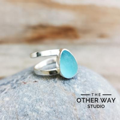 Handmade Silver Adjustable Sea Glass Ring in Aqua