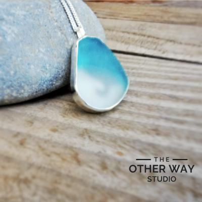 Aqua & Seafoam Sea Glass with Stormy Seas Cutout - Handmade in Silver