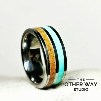 Dual Stream Ring in Aqua with Your Choice of Sand Sand Inlay 8mm