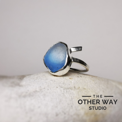 Adjustable Silver Ring with Deep Blue & Clear Sea Glass