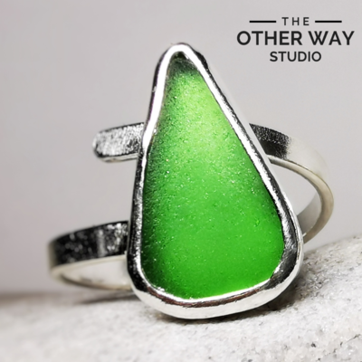 Adjustable Silver Ring with Bottle Green Sea Glass