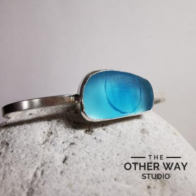 Turquoise Ombre Seaglass - Handmade Silver Adjustable Bangle