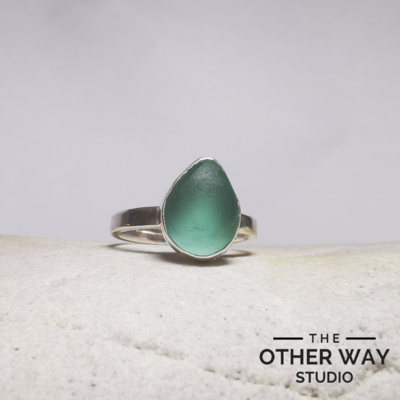 Light Green Sea Glass Ring - Pear Shape