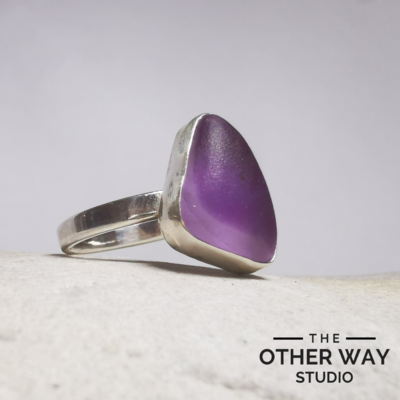 Purple Ombre Sea Glass Ring