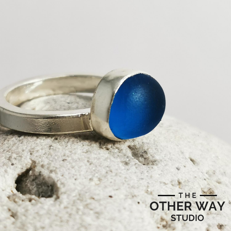 Azure Blue Sea Glass Ring