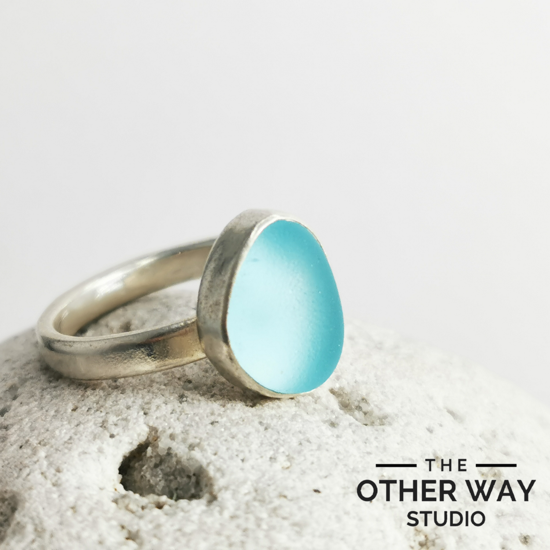 Light Aqua Sea Glass Ring
