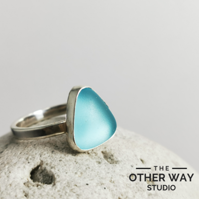 Light Aqua Sea Glass Ring