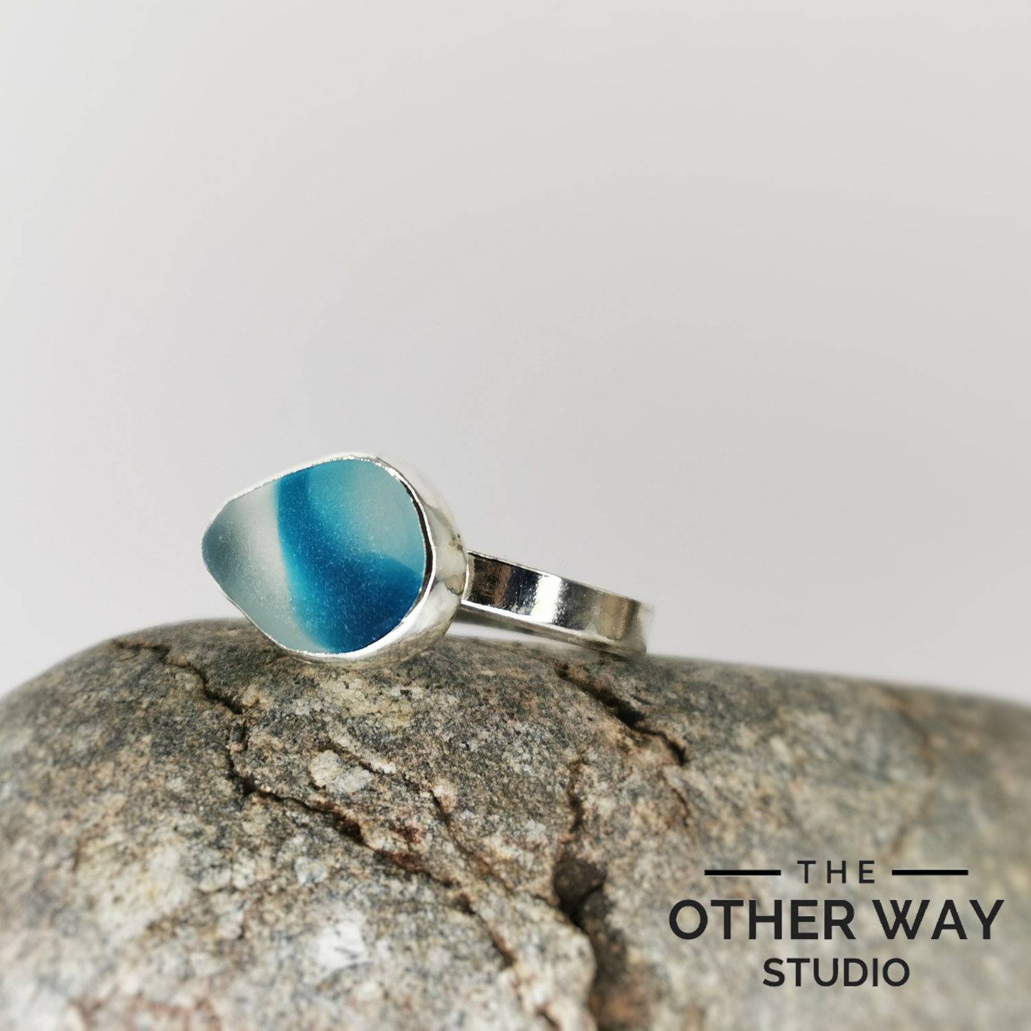 Adjustable Size Silver Sea Glass Ring