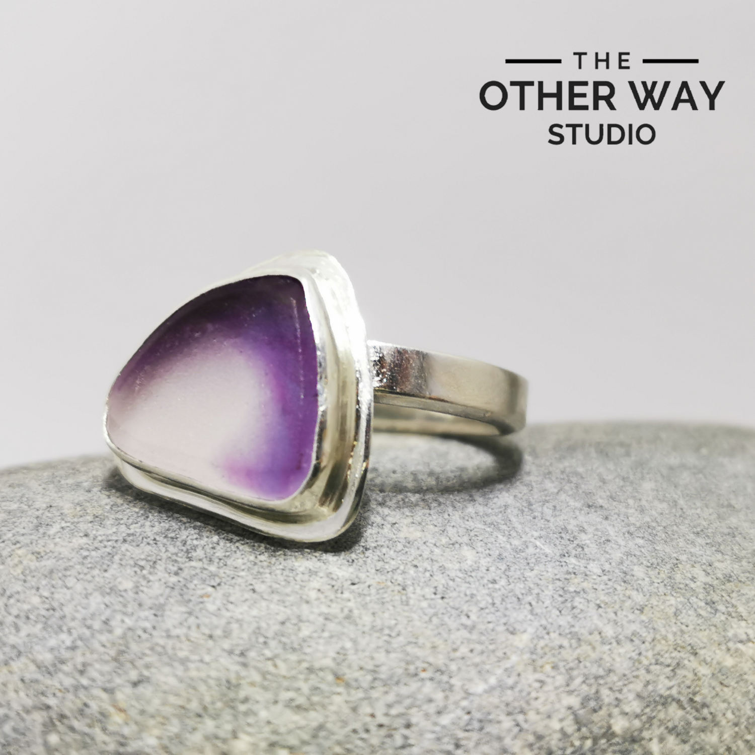 Fully Adjustable Silver Sea Glass Ring