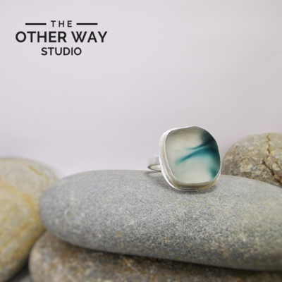 Adjustable Size - Deep Sea - Silver & Sea Glass Ring