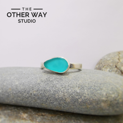 Adjustable Size - Turquoise - Silver & Sea Glass Ring