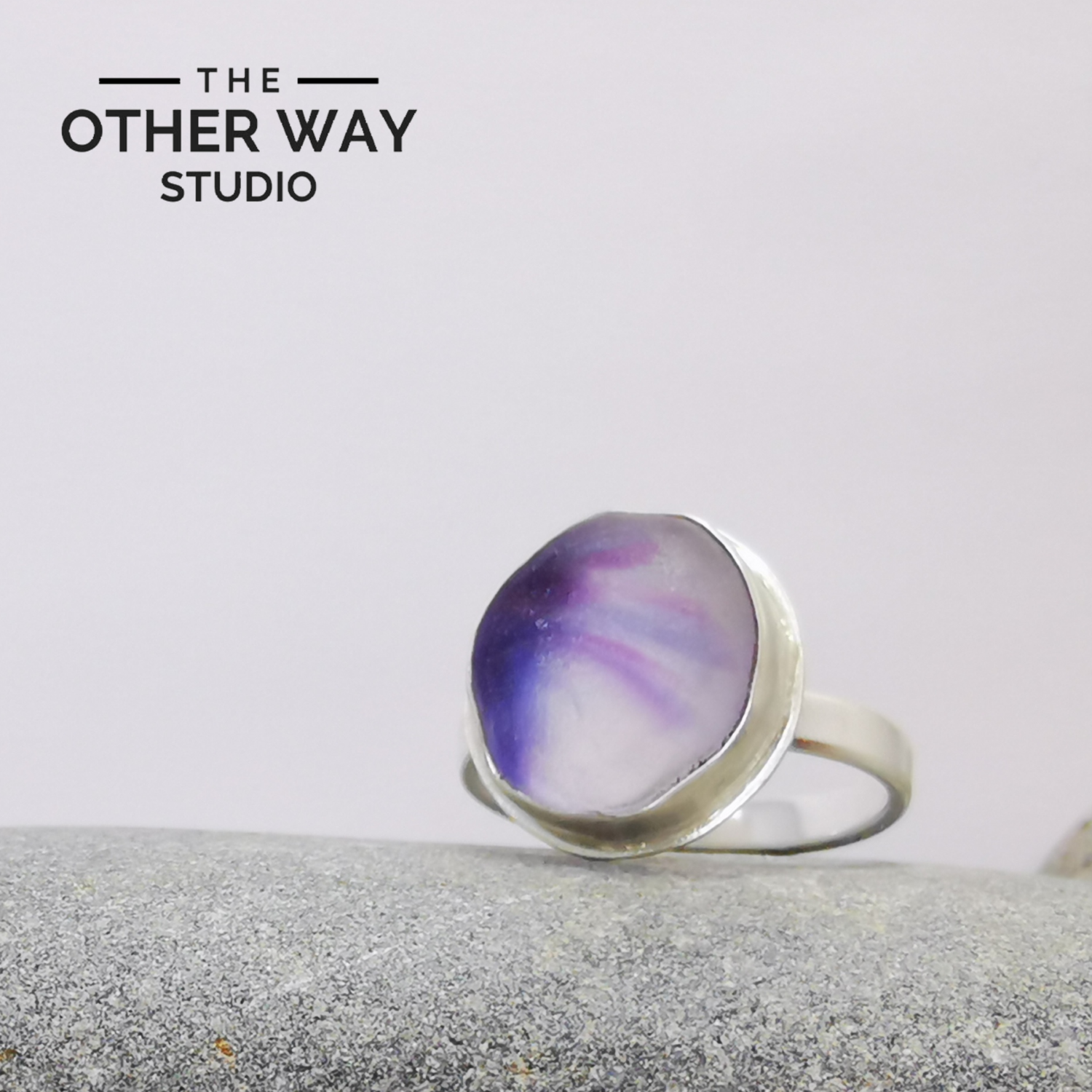 Adjustable Size - Oval Violet Tones - Silver Sea Glass Ring