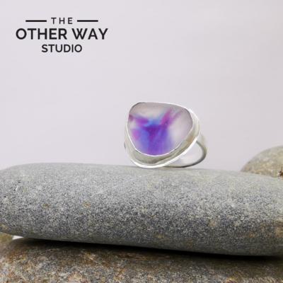 Adjustable Size - Violet Tones - Silver Sea Glass Ring