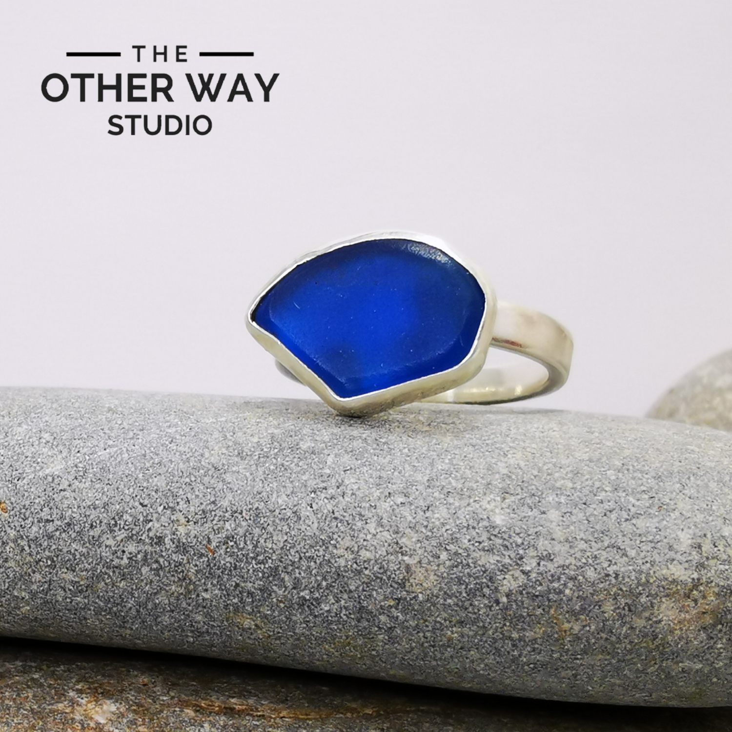 Adjustable Size - Deep Blue - Silver & Sea Glass Ring