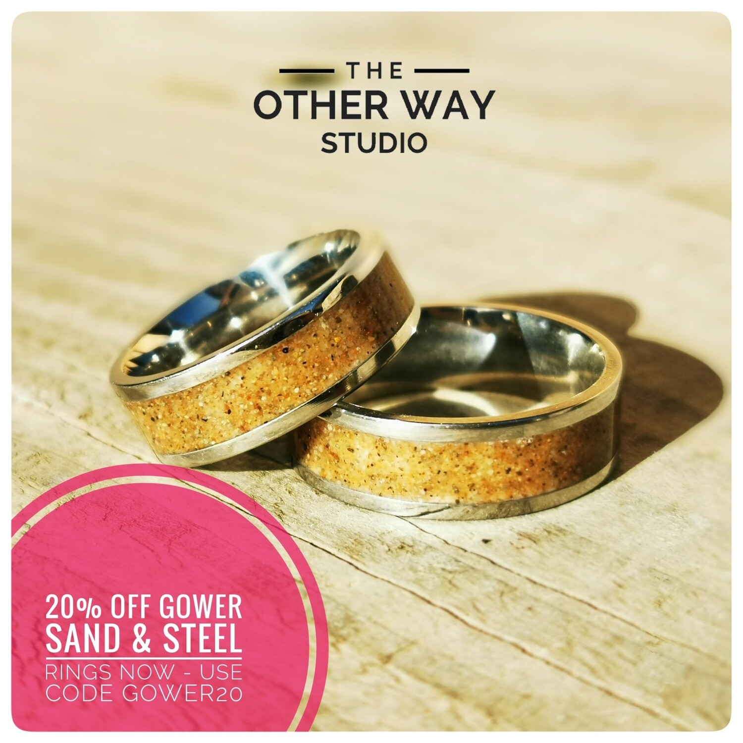 Gower Beaches Sand & Steel Rings 8mm