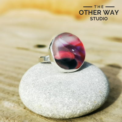 Adjustable Size - Fuchsia & Violet Tones - Silver & Sea Glass Ring