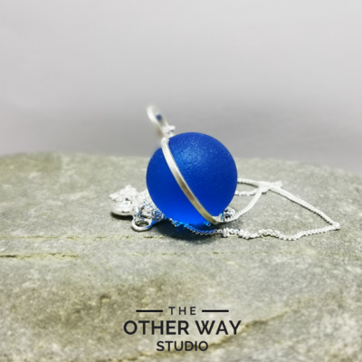 Handmade Silver Pendant with Cobalt Blue Glass Sphere