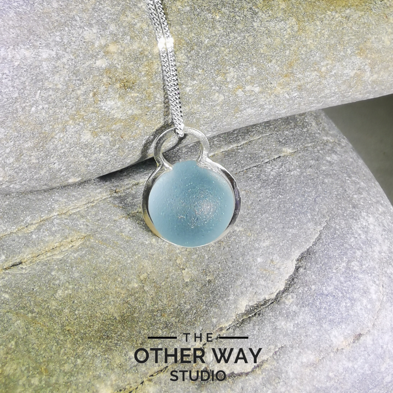Handmade Silver Pendant with Seafoam Blue Glass Sphere