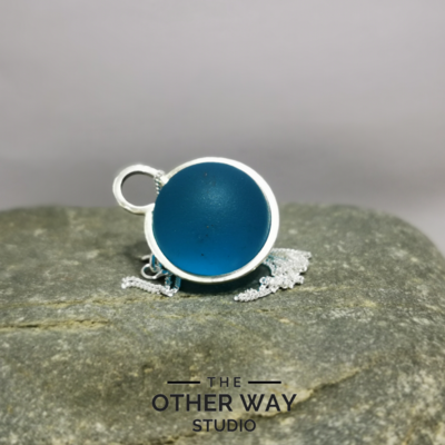 Handmade Silver Pendant with Azure Blue Glass Sphere
