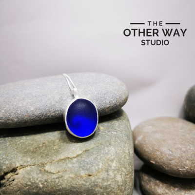 Silver & Sea Glass Pendant with Wave Cutout - Cobalt