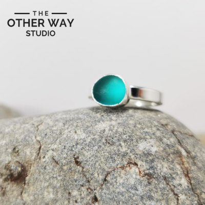 Turquoise Sea Glass Ring
