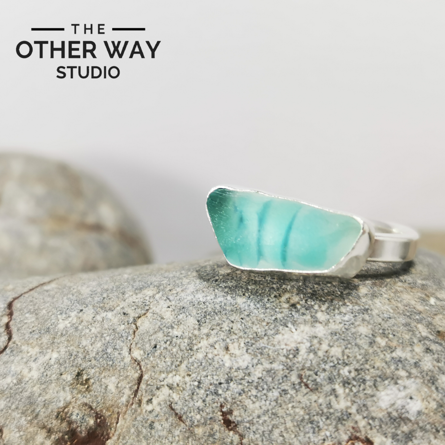 Adjustable Size - Turquoise Tones - Silver Sea Glass Ring