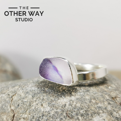 Adjustable Size - Violet Tones - Silver Sea Glass Ring