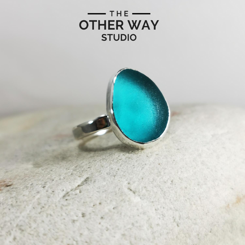 Turquoise Sea Glass Ring - Pear Shape