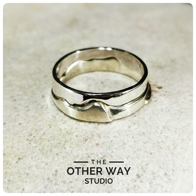 Two Piece Worm's Head Rhossili Stacking Ring - Handmade Silver