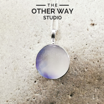 Silver & Sea Glass Pendant - Violet Tones