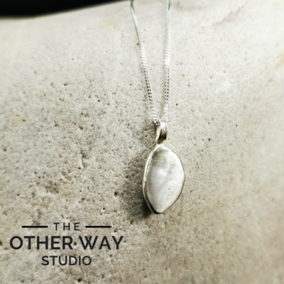 Handmade Silver Pebble Pendant - Recycled Silver