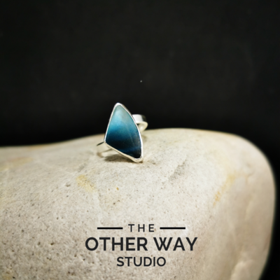 Adjustable Size - Deep Sea - Silver & Sea Glass Ring
