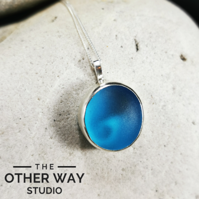 Silver & Sea Glass Pendant with Wave Cutout - Azure Blue