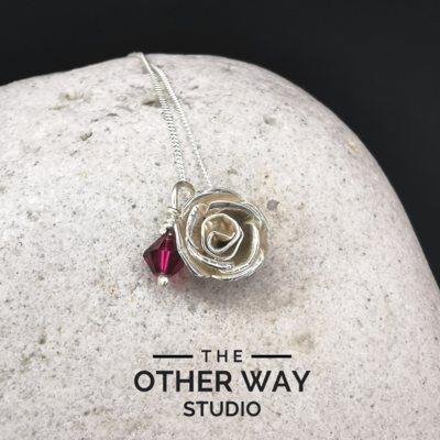 Handmade Silver Rose Pendant with Swarovski Crystal