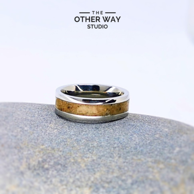 Gower Beaches Sand & Steel Rings 6mm