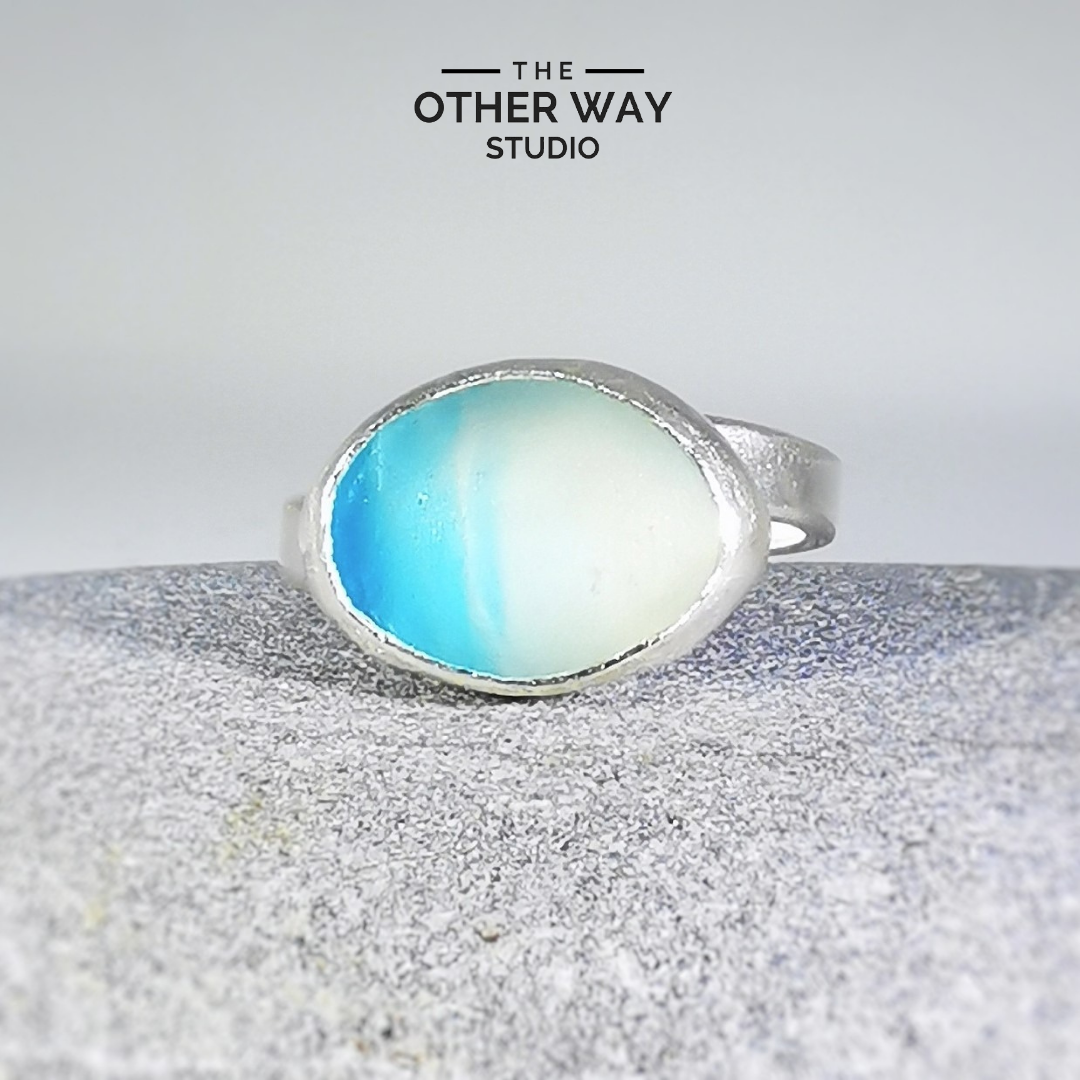 Adjustable Size - Aqua & Seafoam - Silver & Sea Glass Ring