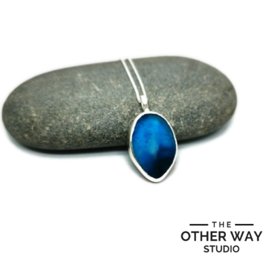 Silver & Sea Glass Pendant & Necklace - Azure to Deep Blue