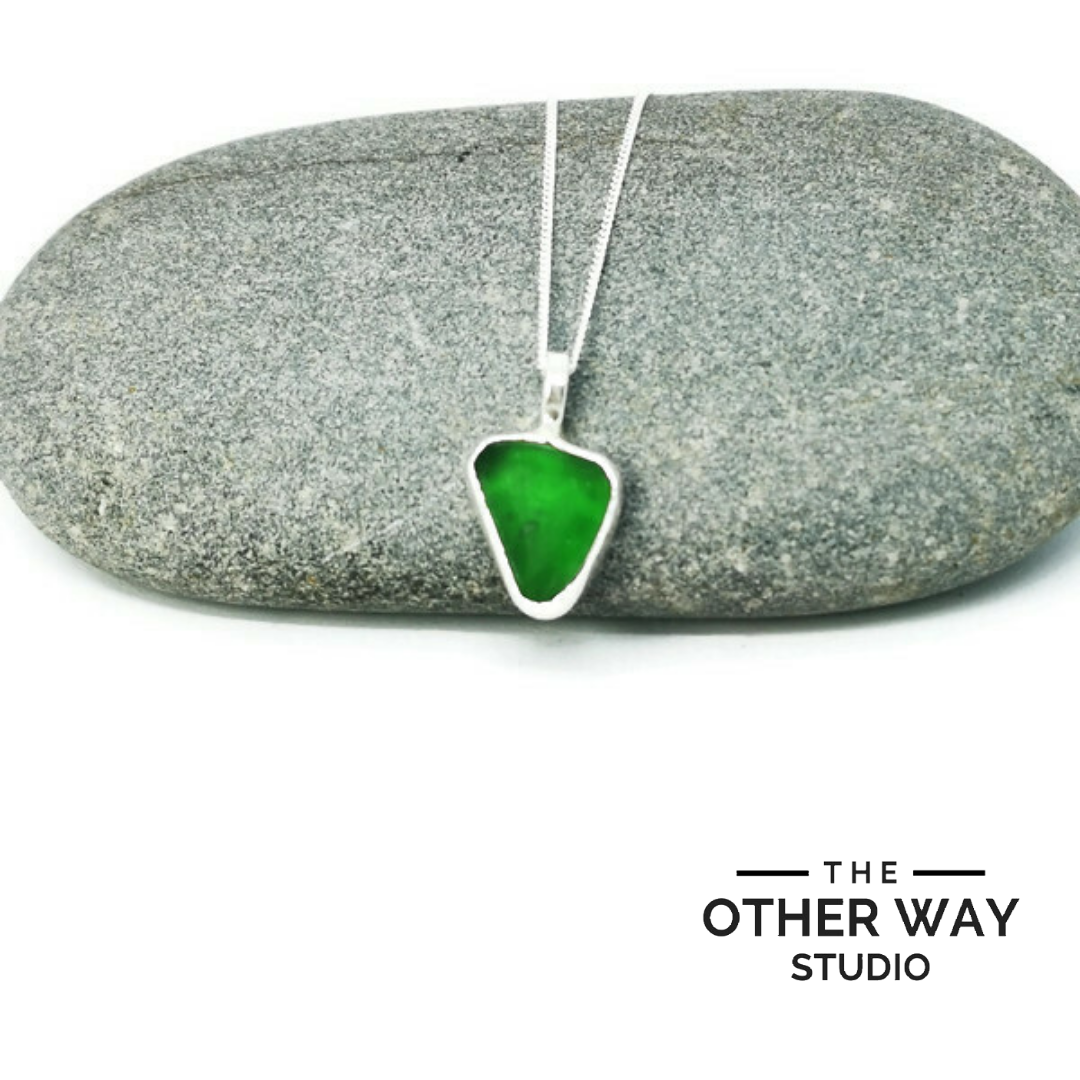 Triangular Silver & Sea Glass Pendant & Necklace - Green