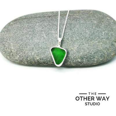 Triangular Silver & Sea Glass Pendant & Necklace - Green