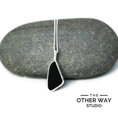 Triangular Silver & Sea Glass Pendant & Necklace - Darkest Purple