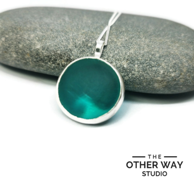 Silver & Sea Glass Pendant with Wave Cutout -Turquoise