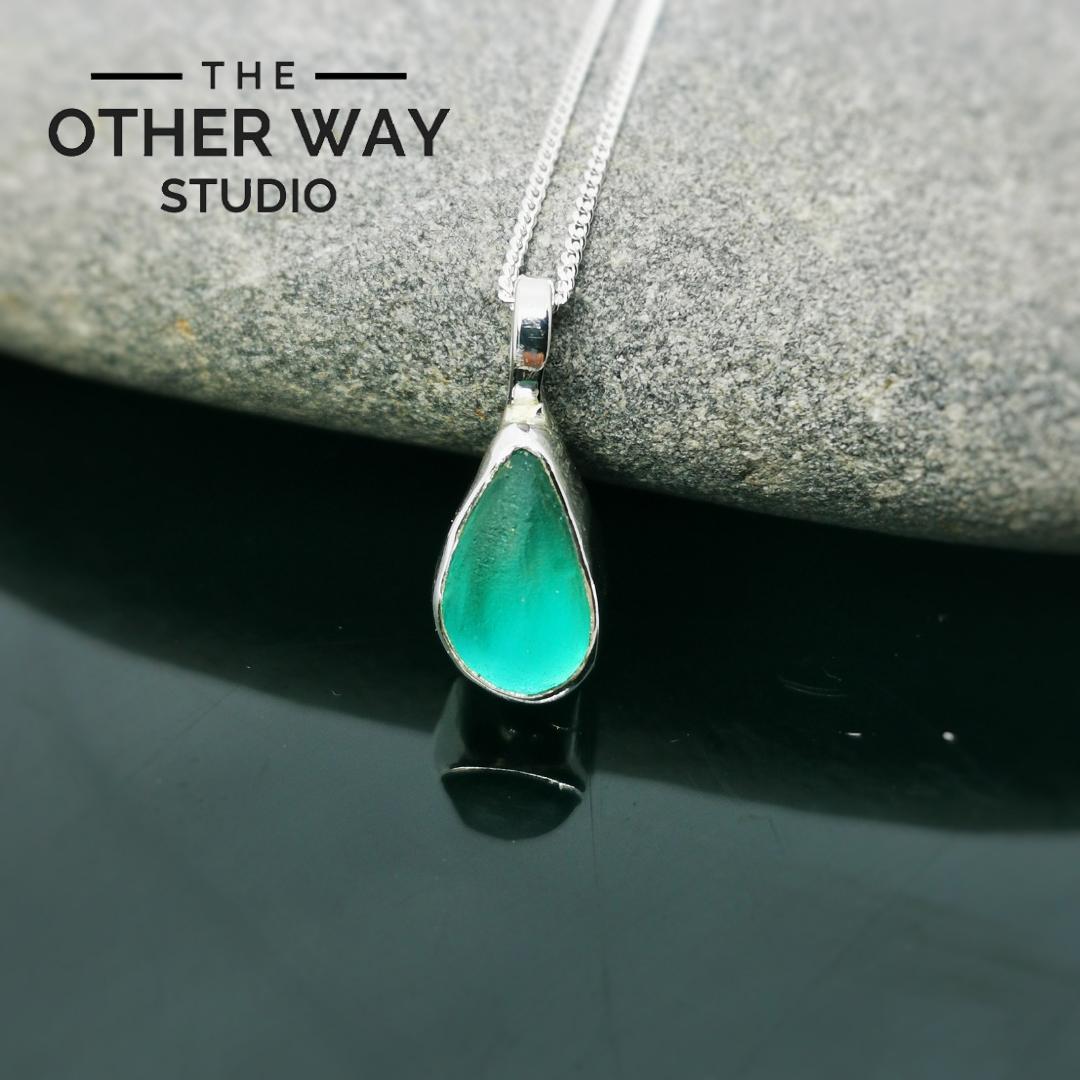 Teardrop Silver & Sea Glass Pendant & Necklace - Turquoise