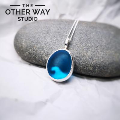 Silver & Sea Glass Pendant with Wave Cutout - Azure Blue