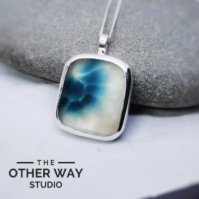Silver & Sea Glass Pendant - Deep Sea Blues