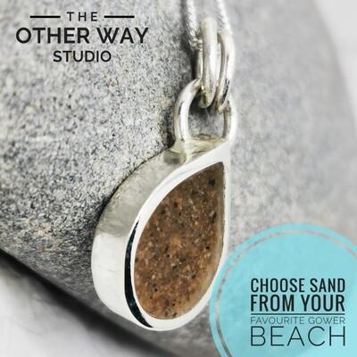 Gower Beaches Sand & Silver Teardrop Pendant