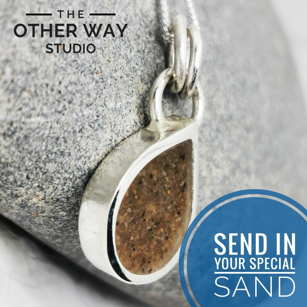 Send In Your Special Sand & Silver Teardrop Pendant