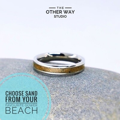 Gower Beaches Sand & Steel Rings 4mm