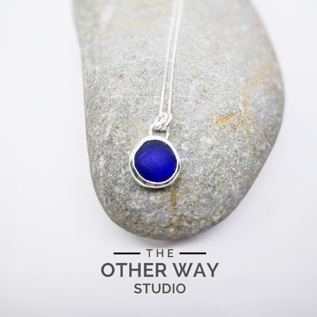 Silver & Sea Glass Pendant & Necklace - Cobalt  Blue