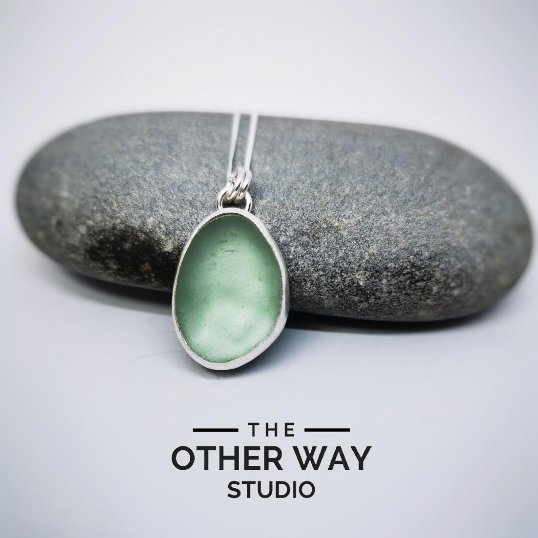 Silver & Sea Glass Pendant & Necklace - Sea Foam Green