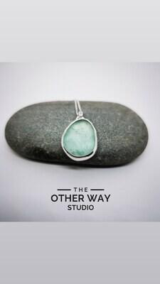 Silver & Sea Glass Pendant & Necklace - Sea Foam lightest turquoise